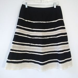 Talbots Navy A-Line Skirt Crochet Lace Trim Sz 10